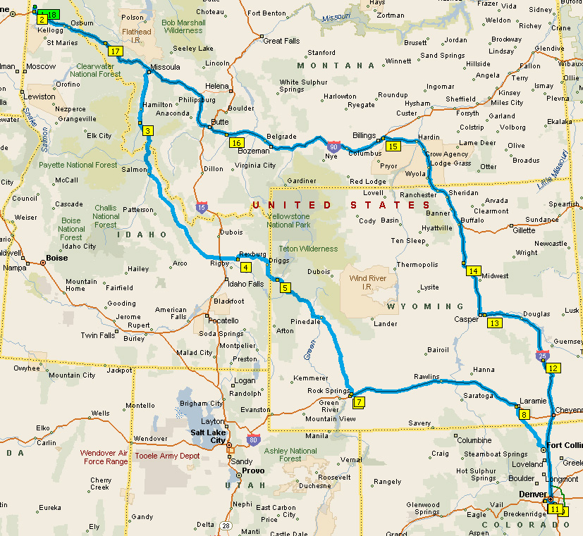 map of our road trip