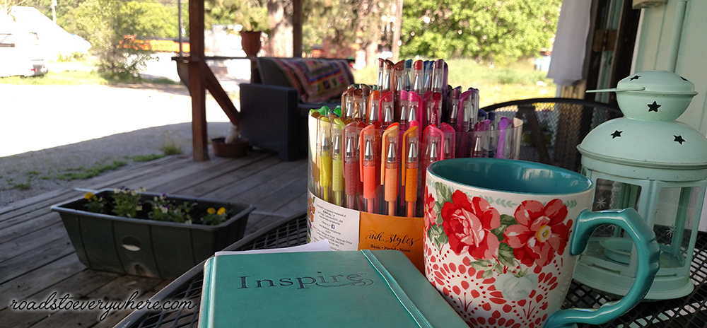Bible journaling on the porch