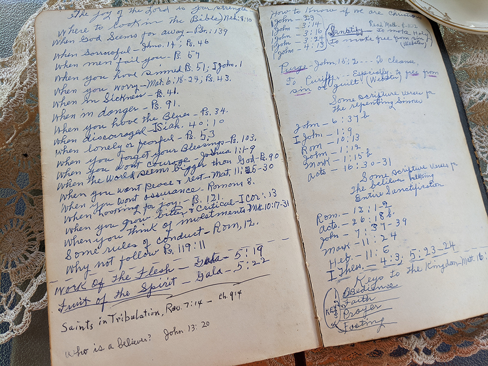 notes in Granny's Bible